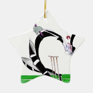 kiwi cricket eye on the ball, tony fernandes Double-Sided star ceramic christmas ornament
