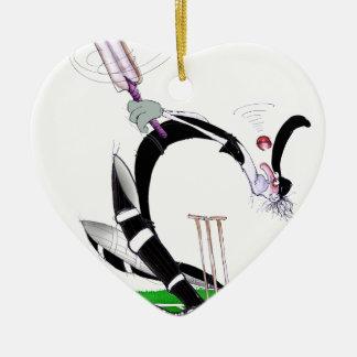 kiwi cricket eye on the ball, tony fernandes Double-Sided heart ceramic christmas ornament