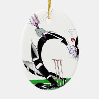 kiwi cricket eye on the ball, tony fernandes Double-Sided oval ceramic christmas ornament