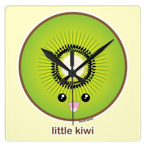 Kiwi de Kawaii Reloj Cuadrado
