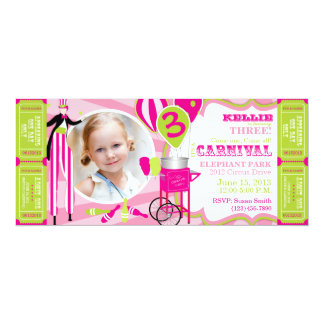 Kiwi del rosa del cumpleaños del tema del circo invitación personalizada