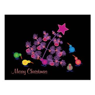 Kiwi Felices Navidad Tarjeta Postal
