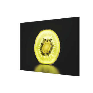 Kiwi,Fruit,Black background Canvas Print