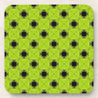 Kiwi Green And Black Vintage Pattern Coaster