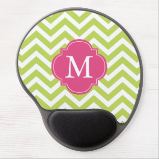 Kiwi Green and Fuschia Zigzags Pattern Monogram Gel Mouse Pad