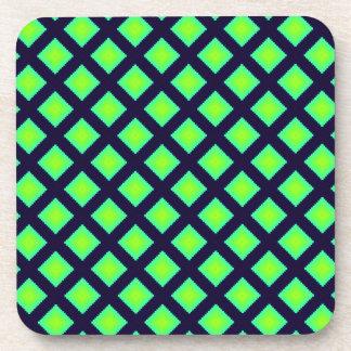 Kiwi Green And Navy Blue Geometrical Pattern Beverage Coaster