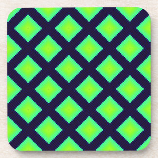 Kiwi Green And Navy Blue Geometrical Pattern Drink Coaster