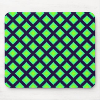 Kiwi Green And Navy Blue Plaid  Pattern Mouse Pad