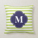 Kiwi Green and Navy Blue Stripes Monogram Throw Pillow