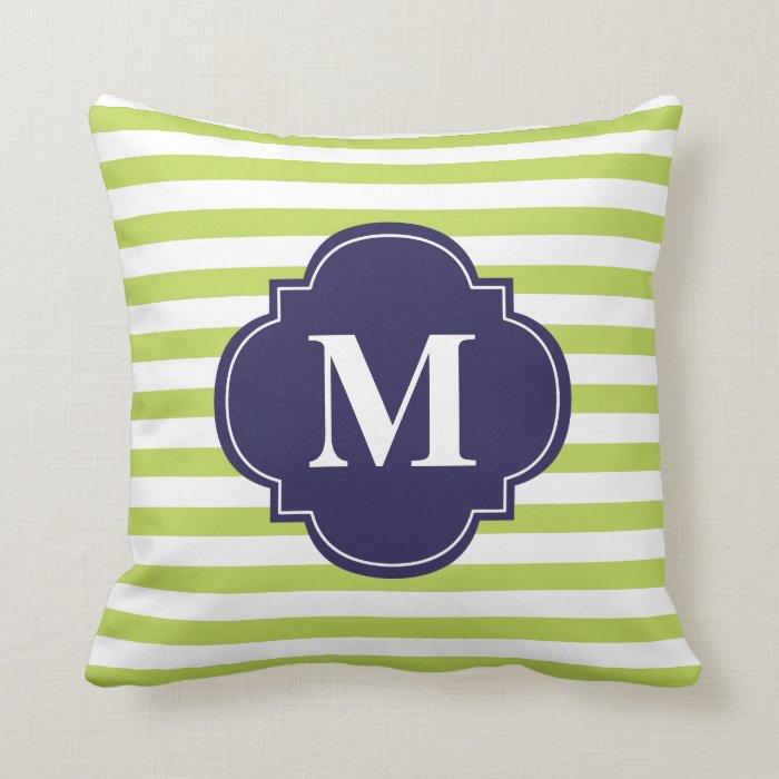 Navy Blue And Green Throw Pillows : Kiwi Green and Navy Blue Stripes Monogram Throw Pillow Zazzle