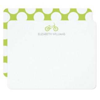Kiwi Green Bicycle and Large Dots Note Cards