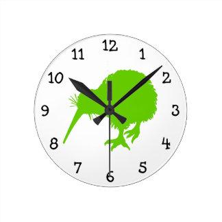 Kiwi Green Bird Round Clock