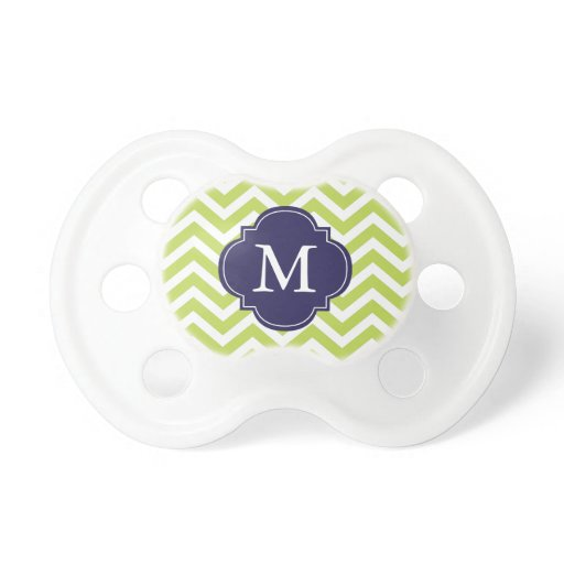 Kiwi Green & Blue Zigzag Pattern Monogram Pacifier