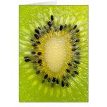 Kiwi Green Fruit w Seeds Sliced Closeup Background Greeting Cards