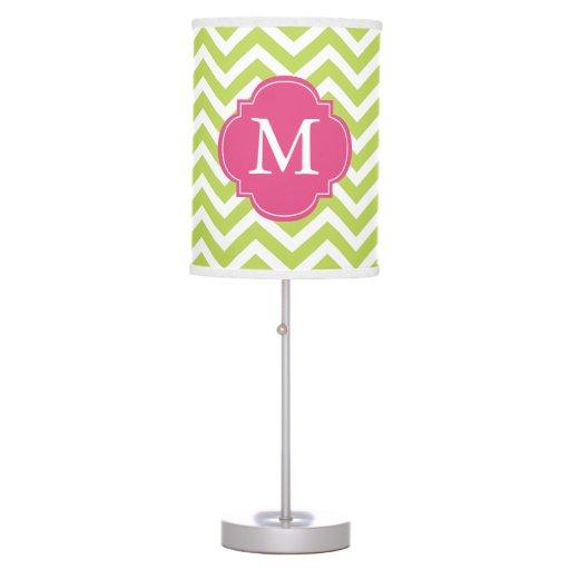 Kiwi Green & Fuschia Zigzags Pattern Monogrammed Table Lamp