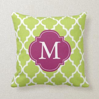 Kiwi Green Monogrammed Quatrefoil Throw Pillow