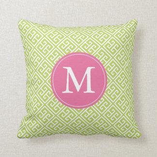 Kiwi Green Pink Greek Key Pattern Monogram Throw Pillow