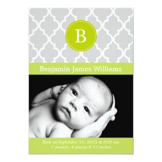 Kiwi Green Quatrefoil Monogram Birth Announcements