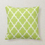 Kiwi Green Quatrefoil Pattern Throw Pillow