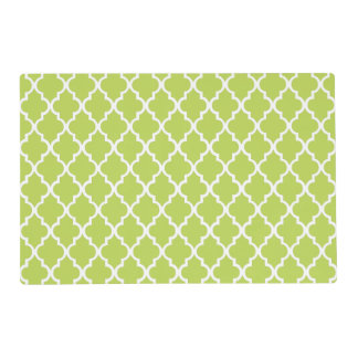 Kiwi Green Quatrefoil Tiles Pattern Placemat