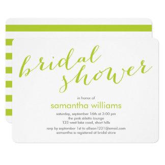 Kiwi Green Stripes Bridal Shower Card