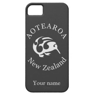 Kiwi gris con Koru, Aotearoa, Nueva Zelanda iPhone 5 Case-Mate Carcasa