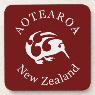 Kiwi gris con Koru Aotearoa Nueva Zelanda Posavasos