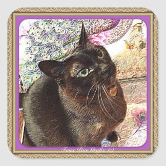 Kiwi in a Box, pose _, plum Square Sticker