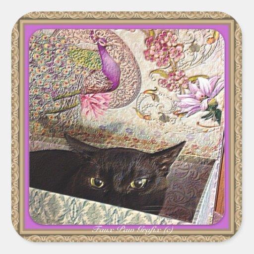 Kiwi in a box, series 1, pose _, lavender square sticker