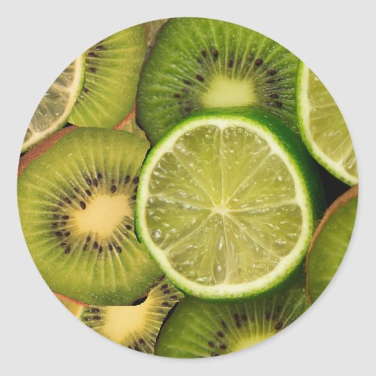Kiwi lemon and lime classic round sticker