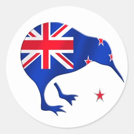 kiwi New Zealand flag soccer football gifts Classic Round Sticker