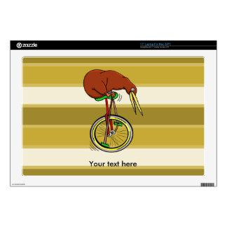 "Kiwi Peddling  A One Wheeled Bicylce 17"" Laptop Skin"