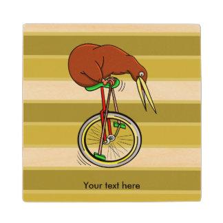 Kiwi Peddling  A One Wheeled Bicylce Wood Coaster