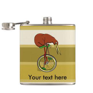 Kiwi que monta un ejemplo divertido del Unicycle Petaca