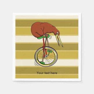 Kiwi Riding A Unicycle Funny  Illustration Paper Napkin