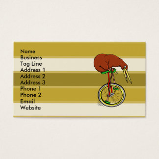 Kiwi Riding A Unicycle Modern Pattern Business Card