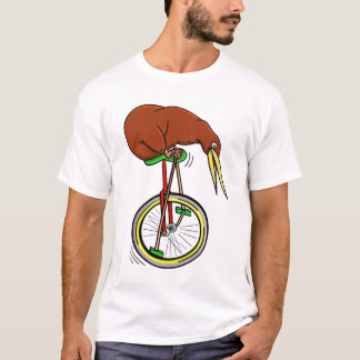 Kiwi Riding A Unicycle Peddling With Long Poles T-Shirt
