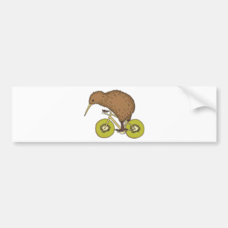 Kiwi Riding Bike With Kiwi Wheels Bumper Sticker