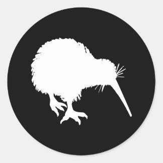 Kiwi Silhouette Round Stickers