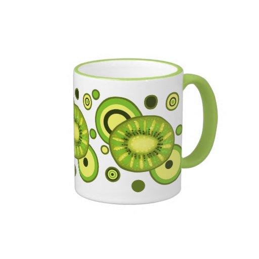 Kiwi Slice Circles Design Ringer Mug