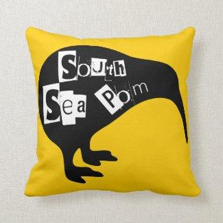 KIWI, South sea pom Throw Pillows
