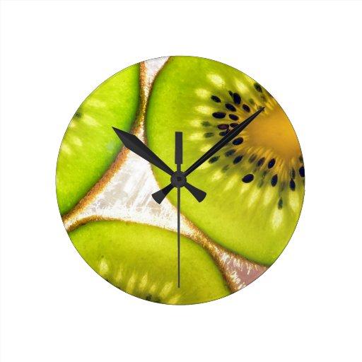 Kiwi Splash Fruit Destiny Gifts Round Clocks