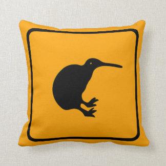Kiwi Warning Sign Throw Pillow