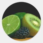Kiwi y cal etiqueta redonda