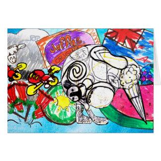 """Kiwiana "" created from child's artwork Card"