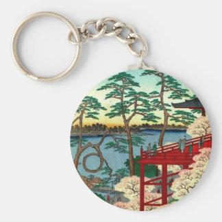 Kiyomizu Hall and Shinobazu Pond at Ueno (上野清水堂不忍ノ Basic Round Button Keychain