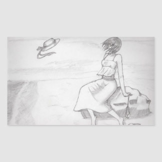Kizu - en la playa pegatina rectangular