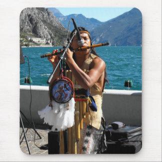 Kjari playing a pipe at Lake Garda Mouse Pad