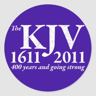 KJV Still Going Strong in white distressed Classic Round Sticker