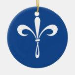 KKG Fleur de Lis: Deep Blue Double-Sided Ceramic Round Christmas Ornament